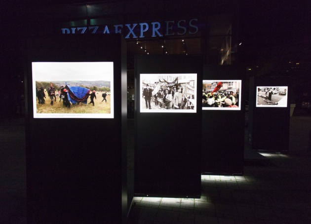 photos from The Argus Archive on display outside