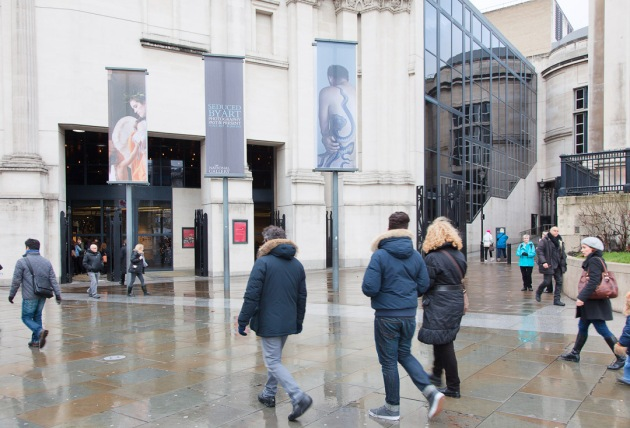 """outside the """"carbuncle on the face of a much loved friend"""" advertising Seduced by Art"""