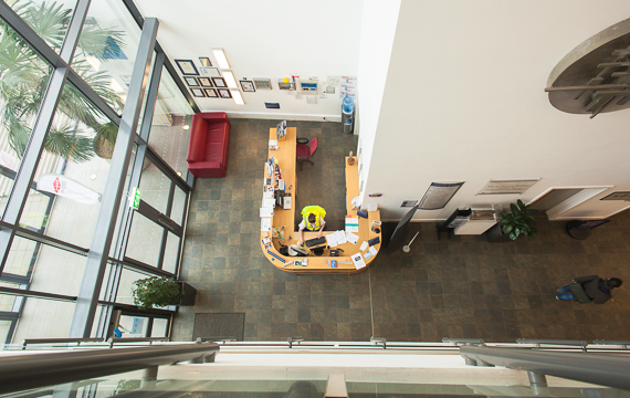 view from the balcony of the reception area at Markeaton Campus