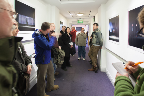 discussing mineworker exhibits by Moira Lovell