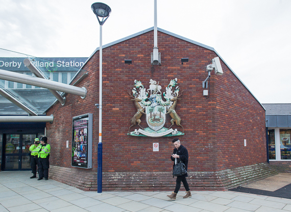Derby Railway Station - being photographed by the police!