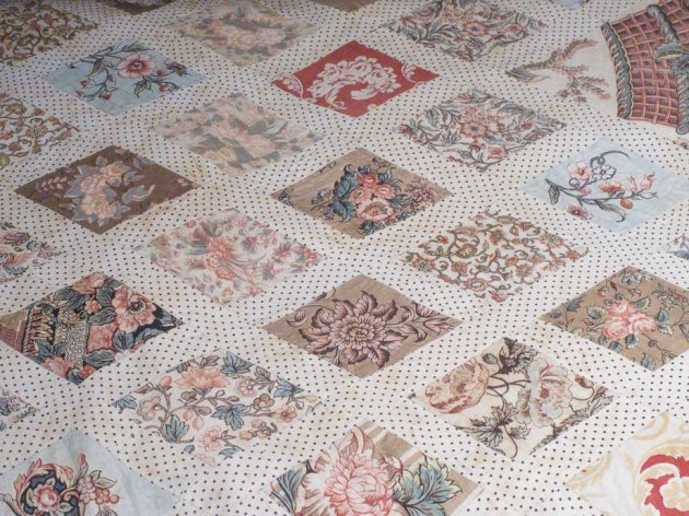 section of the quilt made by Jane Austen and her sister Cassandra
