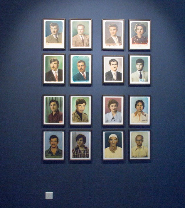 a display of portraits