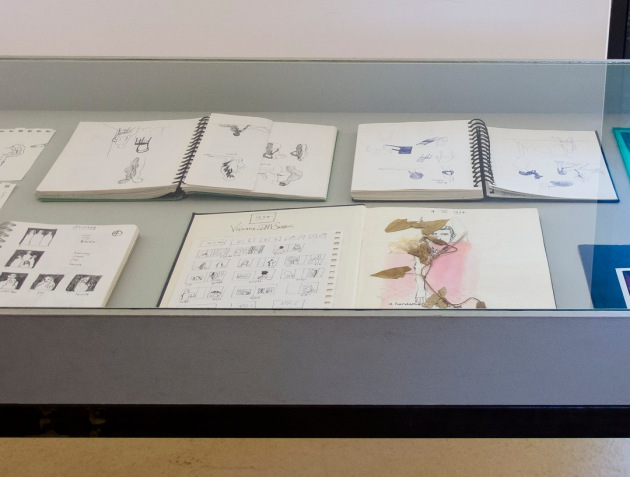 table display of Sassen's notes and drawings