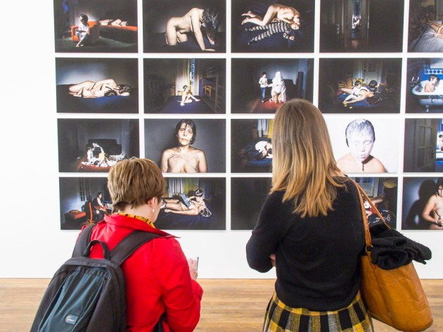 Eileen and Sharon looking at work by Ana Casas Broda