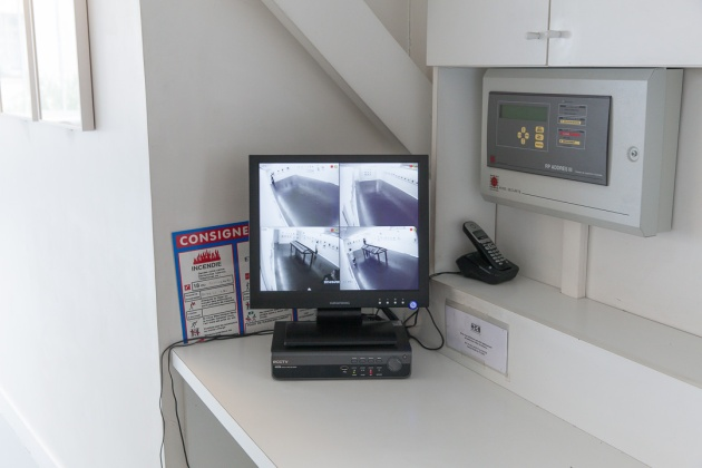 surveillance equipment at the Foundation - you can be seen in the galleries even if no one is there!