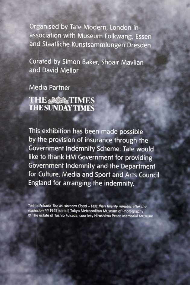 notice at entrance to the galleries showing the Conflict, Time, Photography exhibition