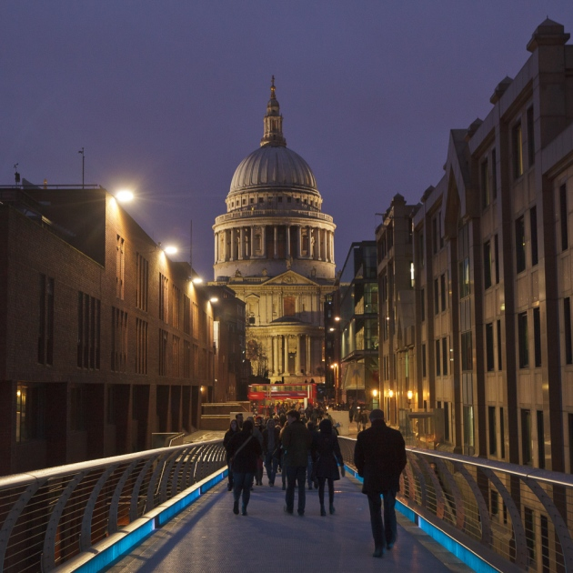 St.Pauls cathedral at night seen from the Millennium Bridge